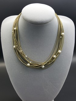 Gold Piano Wire Necklace with Pearls