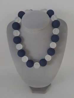 Blue and White Large Bead Necklace
