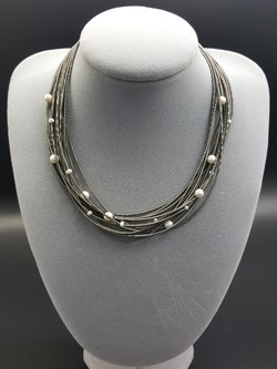 Slate Piano Wire Necklace with Pearls