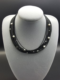 Black Piano Wire Necklace with Pearls