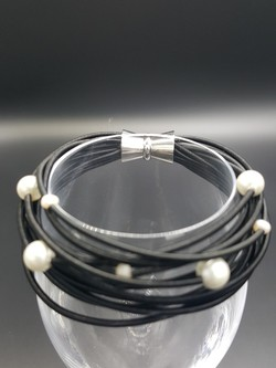 Black Piano Wire Bracelet with Pearls
