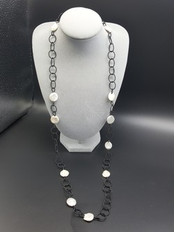 Long Black Rings with Coin Pearls Necklace