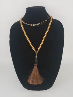 Wood horse tassel necklace